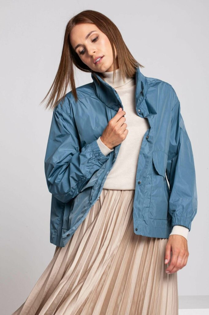 Woman with a blue jacket